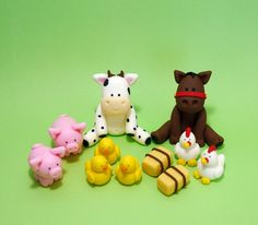 Farm animals cake topper. Fondant farm von SugarDecorByLetty