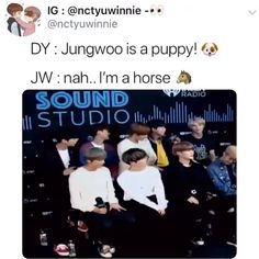 """I CAN'T 😂 OMG and also the way Doyoung said """"puppy"""" - his voice made me soft 😭❤️❤️ Kdrama Memes, Funny Kpop Memes, Nct Life, All Meme, Johnny Seo, Jung Woo, Kpop Groups, Taeyong, Videos Funny"""