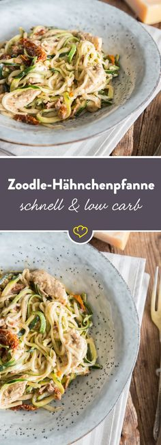 Fast Low Carb Pasta: Creamy Zoodle Chicken Skillet- Schnelle Low-Carb-Pasta: Cremige Zoodle-Hähnchen-Pfanne Tender chicken and spicy, sun-dried tomatoes are hidden between zucchini noodles. On top: a good portion of parmesan cheese. Fast Low Carb, Low Carb Keto, Low Carb Recipes, Healthy Recipes, Low Carb Pasta, Clean Eating Recipes, Healthy Eating, One Pot, Atkins