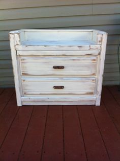 Adorable shabby chic old dresser turned into a bench with storage! Love it!!! Made by meeee :)