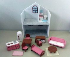 Felt Miniature Dollhouse (Email Patterns and Instructions). $6.90, via Etsy.