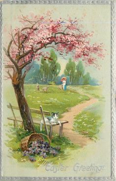 EASTER GREETINGS  cat on bench beneath blossom tree, basket of violets spilled, distant woman with parasol & two sheep