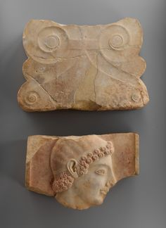 Finial of a marble stele (grave marker)  Period:     Archaic Date:     ca. 525 B.C. Culture:     Greek, Attic