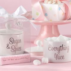 """Celebrate the arrival of the new little girl with these ceramic sugar bowl, that has """"Sugar, Spice, and Everything Nice"""" written all over it, just like her!"""