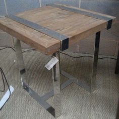 Reclaimed wood and chrome side table