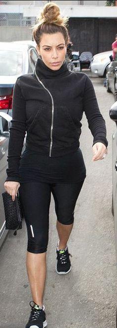 Kim Kardashian: Jacket – Rick Owens  Purse – Bottega Veneta