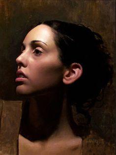 Artist: Scott Waddell; Connecticut {contemporary figurative realism beautiful female head woman face profile portrait painting} scottwaddellfineart.com