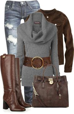 Fall outfit.  #Fall #Outfit #Sweater #Jeans #Boots #Handbag #Belt #Fashion #Style