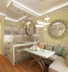 Small Dining Room Design Ideas Apartment Therapy - home design Small Living Room Design, Small Living Rooms, Living Room Kitchen, Dining Room Design, Small Dining, Dining Rooms, Kitchen Nook Table, Kitchen Bar Decor, Kitchen Layout