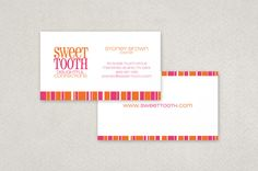 Candy Shop Business Card Template - This wonderfully fun, vibrant business card design is a perfect fit for a candy, ice cream, fudge or sweet shop! The unique circular text design adds a playful flair. Use this memorable logo for napkins, packaging, labels and cone wrappers; your imagination is the limit!