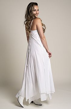 2a7260b9edea White Bohemian Western Wedding Dress in Cotton.  DRCT 1118