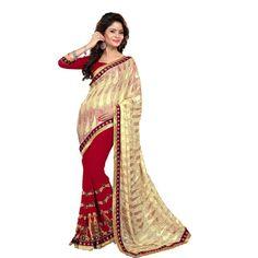 Buy Aarti Designer Saree Beige Chiffon Saree by undefined, on Paytm, Price: Rs.3999?utm_medium=pintrest