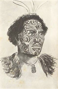 Hongi Hika Maori chief and war leader of the Ngāpuhi iwi in New Zealand. From a sketch by Major-General G. Robley, after the portrait painted in England in Ta Moko Tattoo, Maori Words, Nz History, Maori Patterns, Polynesian People, Maori People, History Tattoos, Maori Tattoo Designs, Maori Art