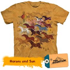Horse Shirt Tie Dye Horses and Sun T-shirt Adult Tee Horse T-shirts Available in Medium, Large, XL, & Officially Licensed View our complete Native American T Shirts, Native American Horses, Native American Fashion, American Art, Cool Shirts, Tee Shirts, Funny Shirts, Horse Shirt, Shirt Outfit