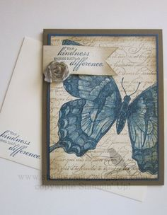 En Francais, Swallowtail & Blooming with Kindness stamp sets, soft suede & midnight muse ink and c/s, very vanilla c/s, blender pen