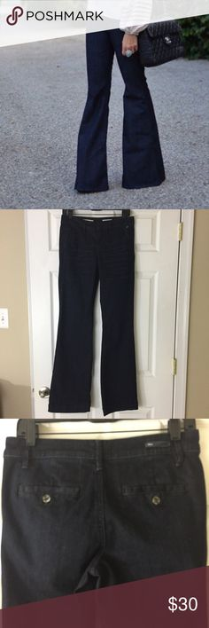 """Anthropologie Pilcro Wide Leg Trouser Jeans 27 Pilcro & The Letterpress Trouser style jeans. Size 27, good condition. 33"""" inseam. 92%cotton 6%polyester 2% spandex. Dark resin with whiskers creases on front. Pilcro Jeans Flare & Wide Leg"""
