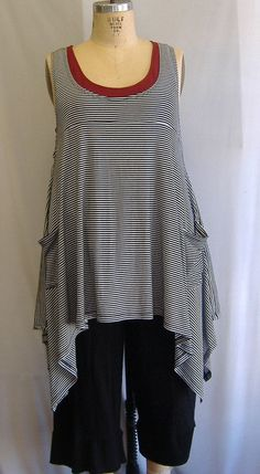 eb956654b8f Coco and Juan Plus Size Top Lagenlook Layering Tunic Tank Top Black   White  Stripe Knit Size 1 Bust to 50 inches