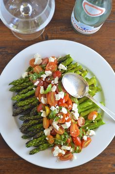 Grilled Asparagus with Tomato Salad and Goat Cheese | Virtually Homemade-perfect side dish any time of year!