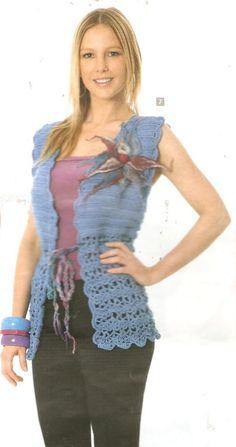 Chaleco azul « Mis tejidos palillo y crochet y algo mas…