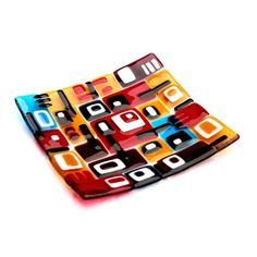 """Fused glass plate - collection """"I love 70s""""   Richard Morawiec (Colour Distillery)"""