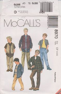 McCalls 8970 Sewing Pattern  Boy's Lined Vest by n2Imaginations (Craft Supplies & Tools, Patterns & Tutorials, pants, vest, lined, shirt, short, sleeves, buttons, tie, waist, pockets, long, elastic, seam)