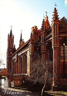 St. Ann's Church, Built in 1495 - 1500. Vilnius, Lithuania