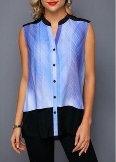 Sleeveless Tunic Blouse Chiffon Patchwork Button Up Split Neck Shirt Stylish Tops For Girls, Trendy Tops For Women, Blouses For Women, Women's Blouses, Chiffon Shirt, Sleeveless Shirt, Chiffon Tops, Trendy Fashion, Shopping