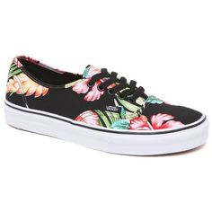 Vans Authentic Hawaiian Sneakers ($50) ❤ liked on Polyvore featuring shoes, sneakers, vans, flats, floral print sneakers, flat pumps, lace up sneakers, vans footwear and floral shoes