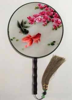 3D Lifelike Breathtaking Koi Goldfish Under The Gorgeous Flower Exquisite Silk Hand Fan Embroidery Stitchwork Gifts for friends