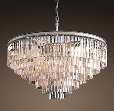 """1920s Odeon Glass Fringe 7-Ring Chandelier Polished Nickel=DIMENSIONS Overall: 43½"""" diam., 34""""H Chain: 24""""L Weight: 291.9 lbs."""