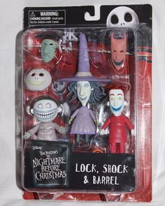 Nightmare Before Christmas Diamond Select Lock Shock & Barrel Action Figure Set for sale online Nightmare Before Christmas Toys, Tim Burton, Barrel, Action Figures, Ebay, Barrel Roll, Crates