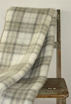 Mohair Mill Shop | Mohair Blankets | Natural Plaid Mohair Throw