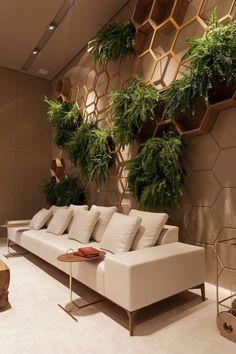 37 Brilliant Indoor Vertical Garden Design Ideas to Brighten Up The Space Salon Interior Design, Top Interior Designers, Cafe Interior, Interior And Exterior, Living Room Designs, Living Room Decor, Wall Design, House Design, Vertical Garden Design