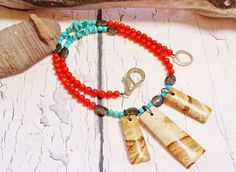 $45 - Native American Red Coral & Turquoise Fringe Statement Necklace by BlueWorldTreasures
