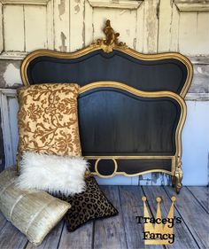 Painted Wood Headboard, Gold Headboard, Antique Headboard, Painted Beds, Painted Chairs, Headboard And Footboard, Headboard Ideas, Paint Furniture, Furniture Makeover