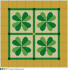 Shamrock Quartet Needlepoint Chart