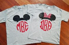 Disney Inspired Matching Family T shirt T-shirts Mickey Ears Ear Monogram Initials Red Black Bow Girl Boy Mom Dad by GraphXVinylandMore on Etsy https://www.etsy.com/listing/494871621/disney-inspired-matching-family-t-shirt