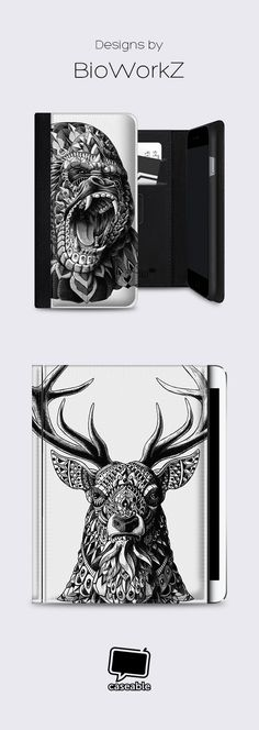 """Gorilla"" or ""Ornate Buck"" – which @bioworkz design would you put on your phone case, tablet cover, rReader cover or laptop bag?"