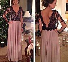 Elegant Long Sleeves Prom Dress With Lace Applique, Long Sleeve Prom Dress,Sexy Evening Gowns, Formal Gowns 2016