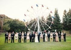 Adorable wedding party shot in front of ferris wheel, photo by Joy Marie Studios | junebugweddings.com