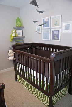 Grey/green/dark wood color scheme in nursery