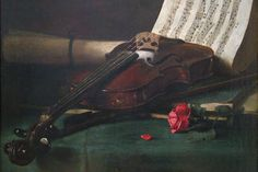 Still Life With Violin, Sheet Music And A Rose, by Francois Bonvin