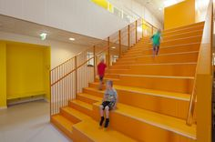 The Vibeeng School designed by Arkitema Architects is a primary school that integrates sustainability and pedagogy in a low energy class Colour Architecture, Primary School, School Design, Denmark, Awards, Education, Color, Home Decor, Upper Elementary