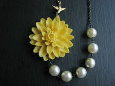 Statement NecklaceYellow Flower NecklaceIvory Pearl by RachelleD