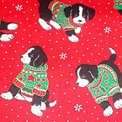 Black & White Pup with Christmas Sweater.  Perhaps a Burmese?  Very Bright colors and perfect for the Holiday Crafts and projects.