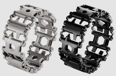 The multitool just became way easier to carry around! 25 tools make up the links of this industrial-chic band! leatherman-tread-1