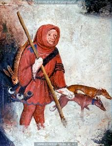 A hunter is depcited in the January fresco at Castello Buonconsiglio, c. 1405-1410,