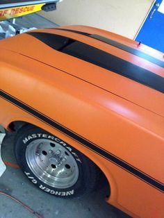 Matte Orange Supreme Wrap Film with Black Stripes https://www.gamart.com.au