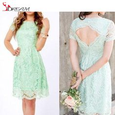 Find More Bridesmaid Dresses Information about 2016 Mint Green Lace Short Bridesmaid Dresses With Short Sleeves backless Custom Made 2015 Plus Size Vintage Maid of Honor ,High Quality lace short wedding dress,China dress lace black Suppliers, Cheap lace strap wedding dress from S. Dream Dreses Co,Ltd on Aliexpress.com