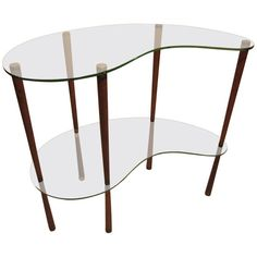 Small Pretty Italian 1950s Tempered Glass Console Table | From a unique collection of antique and modern console tables at https://www.1stdibs.com/furniture/tables/console-tables/